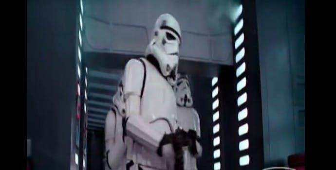 Star Wars stormtooper head bang blooper