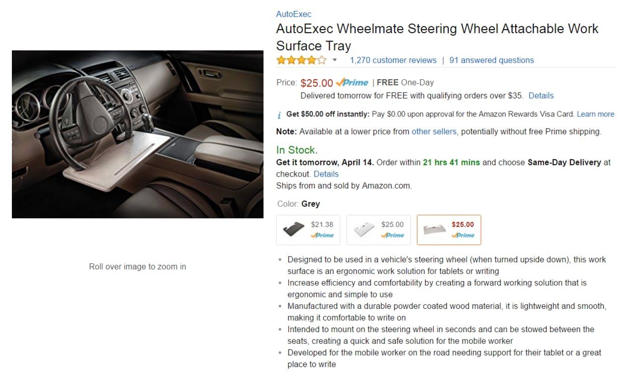 best amazon reviews : AutoExec Wheelmate Steering Wheel Attachable Work Surface Tray