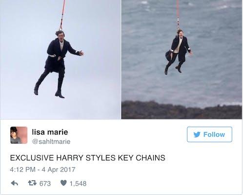 Flying Harry Styles meme keychain