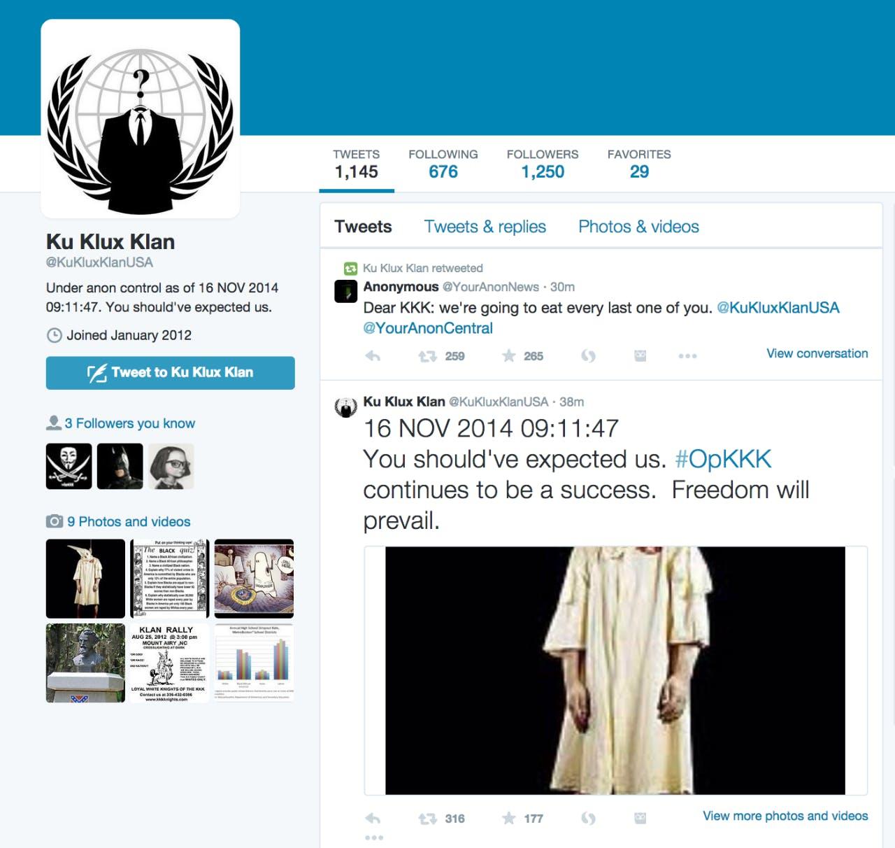 Anonymous owns KKK Twitter account