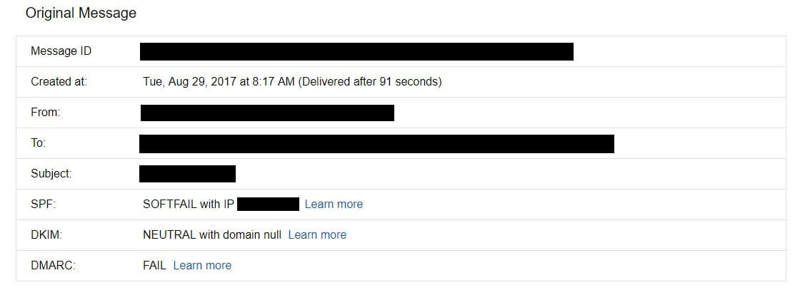 An example of an email spoofing attempt.