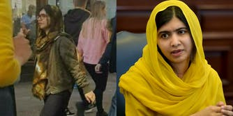 Malala Yousafzai allegedly walking in the street next to a photo of her