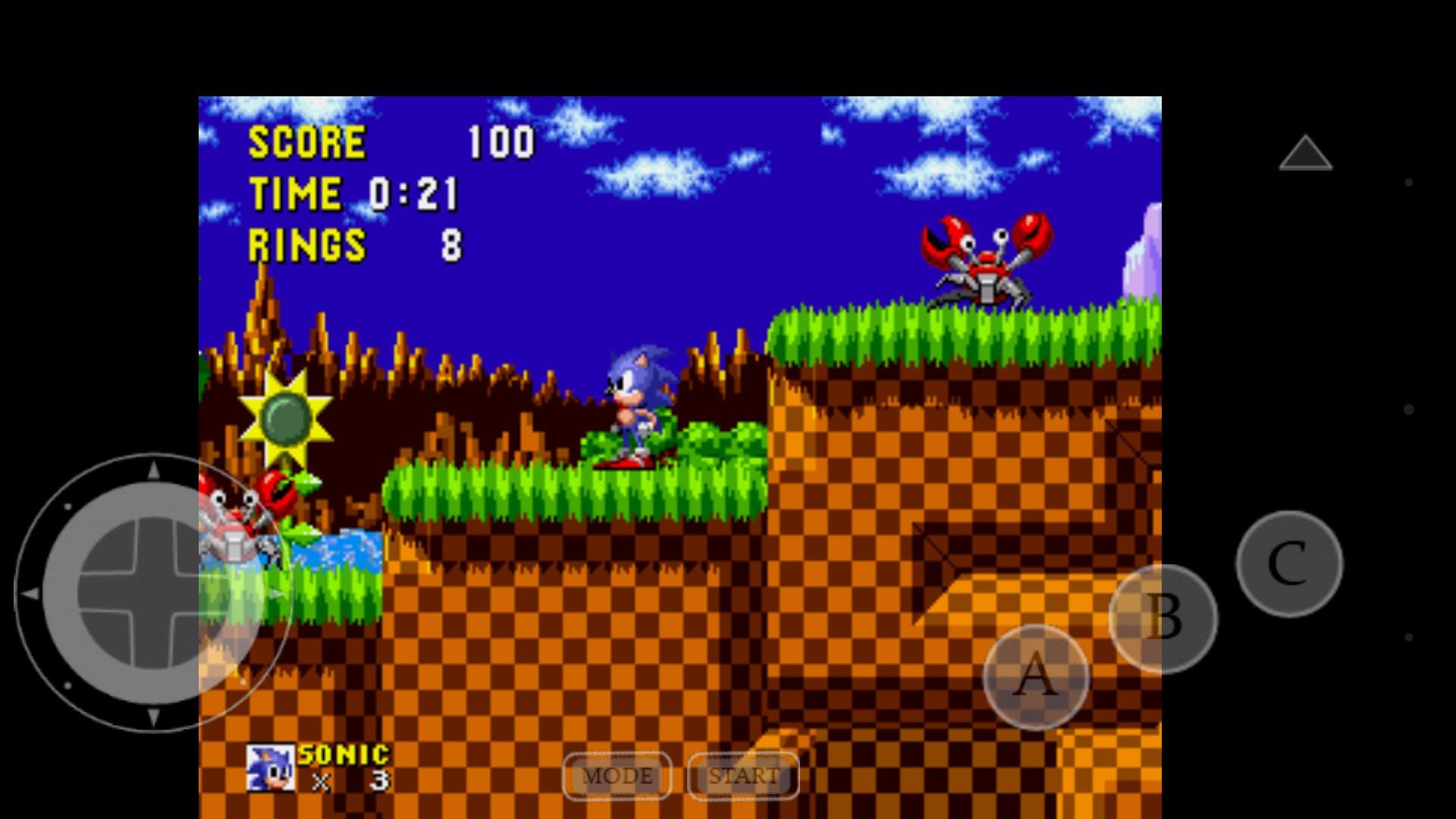 """Sonic the Hedgehog"" emulated on MD.emu"