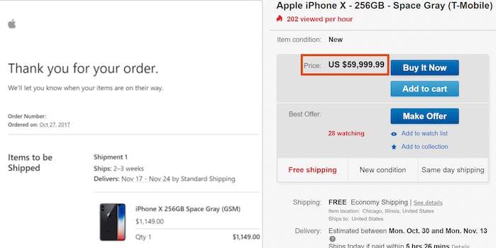 iphone x ebay $60,000