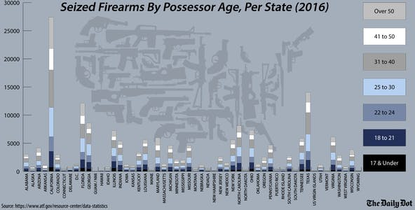Seized Firearms By Possessor Age, Per State (2016) infographic