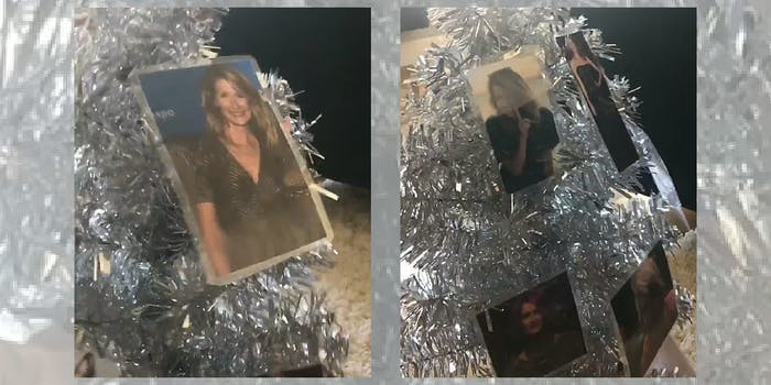 Laura Dern pictures on a small silver Christmas tree