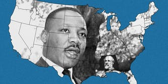 Dr. Martin Luther King, Jr over continental US map, Robert E Lee over Mississippi and Alabama