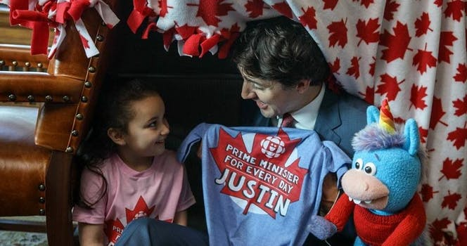 justin trudeau builds blanket fort with kid