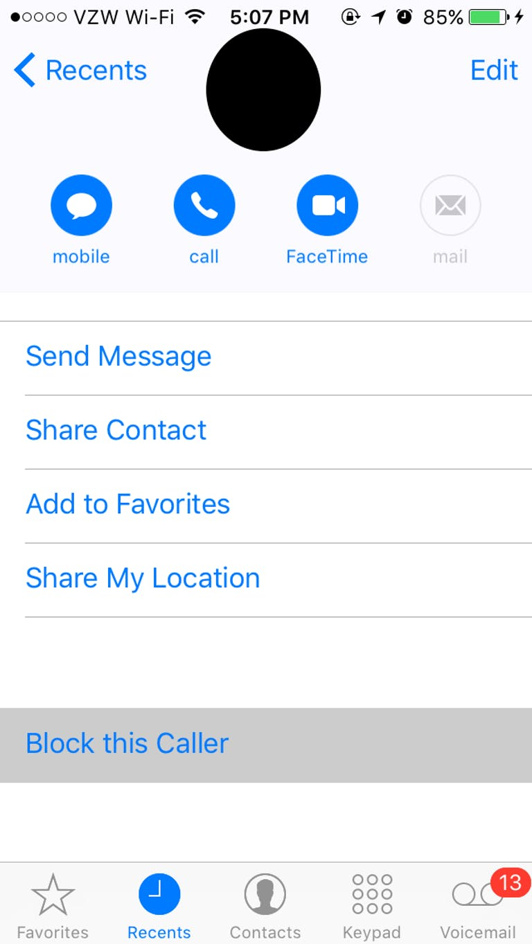 block numbers and texts on iPhone