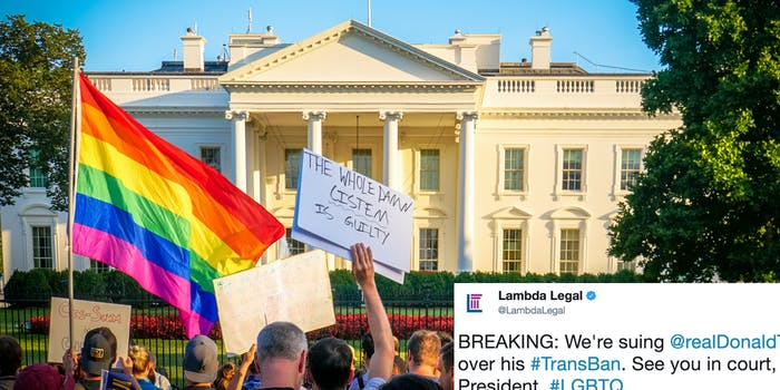 Protesters outside the White House show support for trans military service members