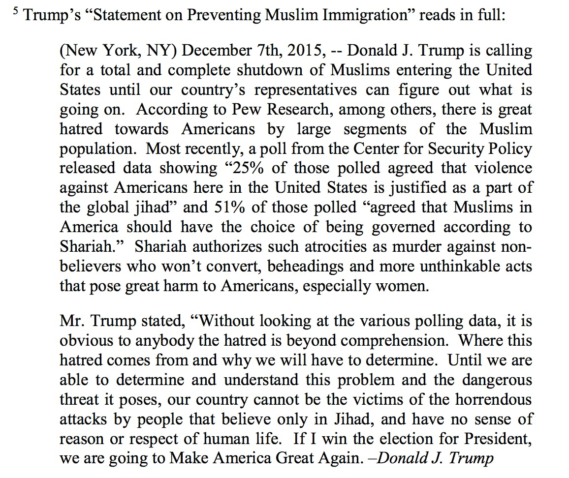 Trump Muslim Ban Statement