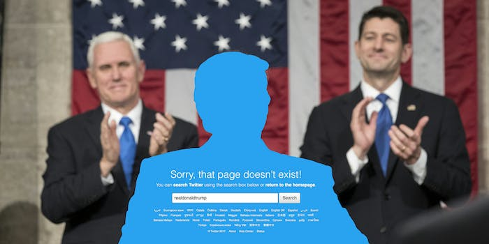 """Mike Pence and Paul Ryan applaud behind Trump shape that displays """"Sorry, that page doesn't exist!"""" Twitter error"""