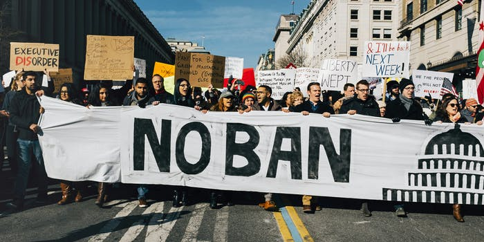 People protesting Donald Trump's travel ban.