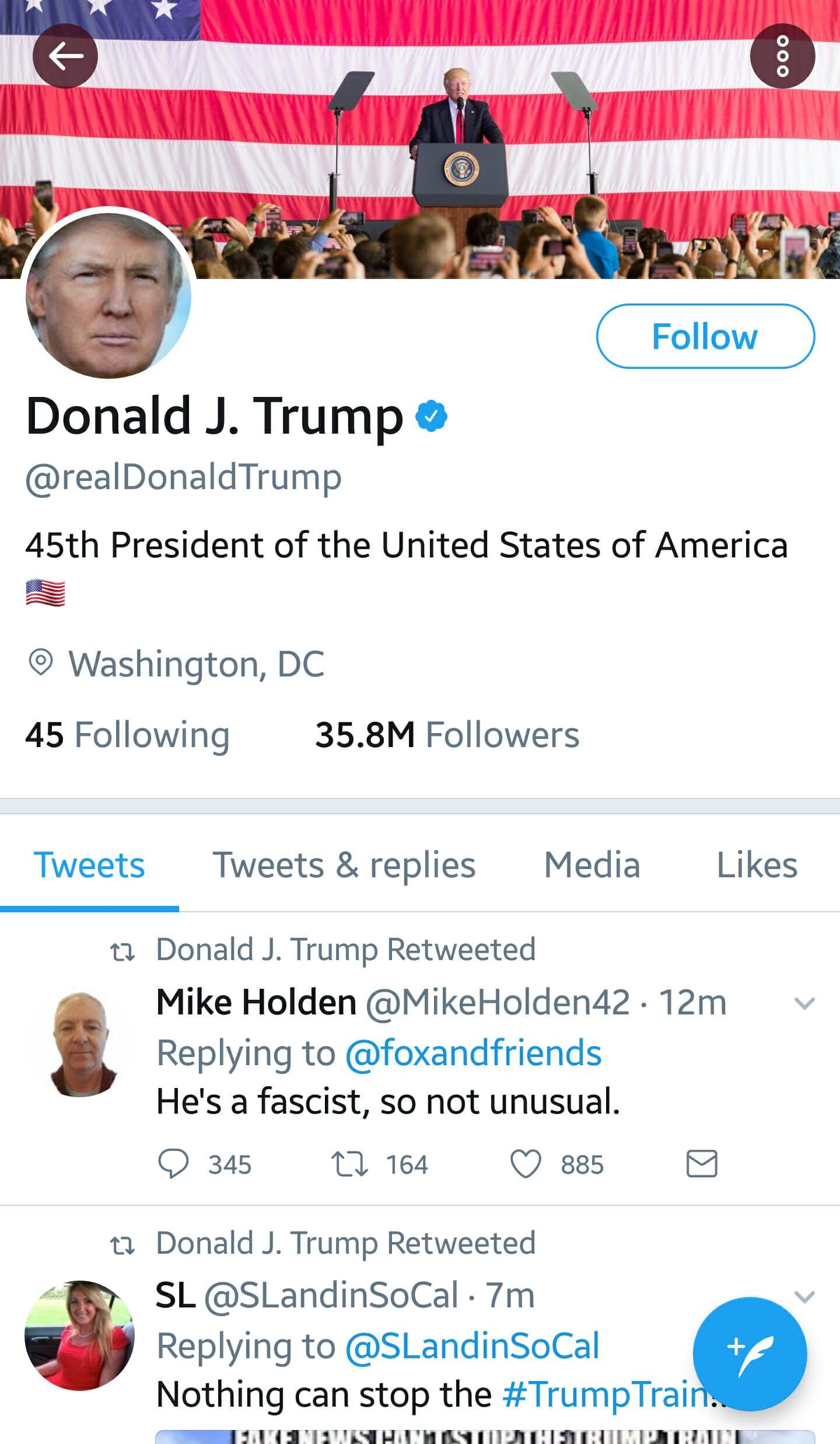 Donald Trump retweeted someone calling him a fascist.