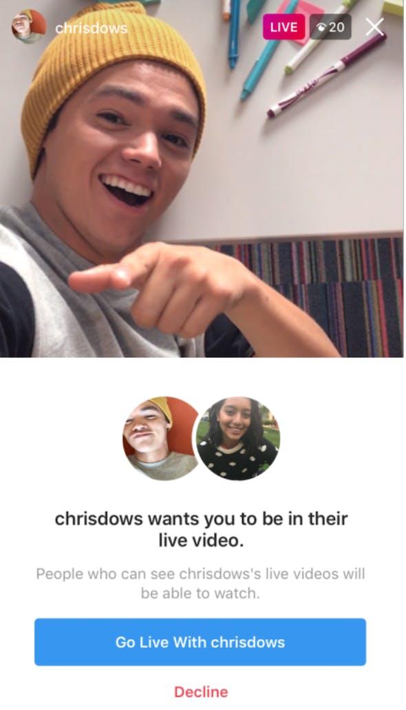instagram live split screen add friend