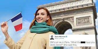 dm ex paris meme: A photo of a woman in France with the 'DM ex in Paris' meme.