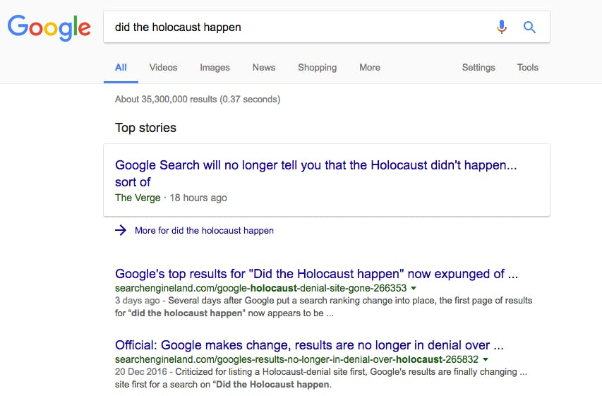 Screenshot of search result.