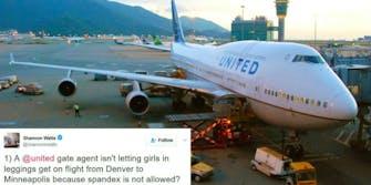 United Airlines gender leggings