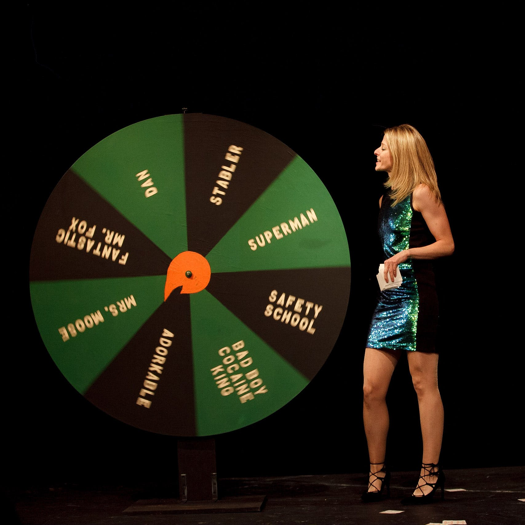 Mel and her love roulette wheel.