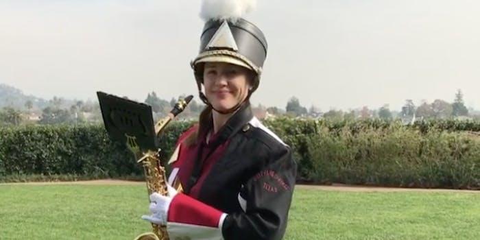 Jennifer Garner smiles in a marching band uniform