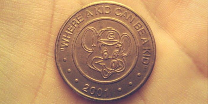 A Chuck E. Cheese's token