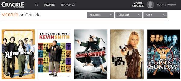 menu of free movie streaming site crackle