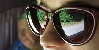 Sunglasses on woman's face