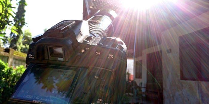 Camera taking photos of a solar eclipse