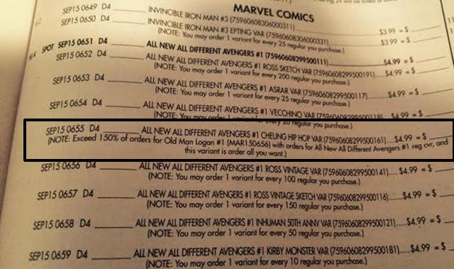 Order requirements for Marvel variants for the month of September; the hip-hop variant is highlighted in black