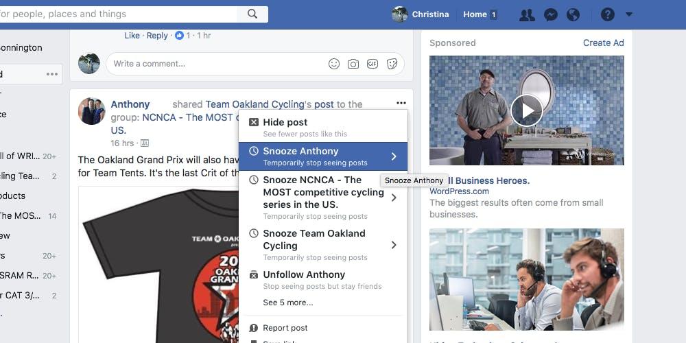Screengrab of Facebook Snooze option