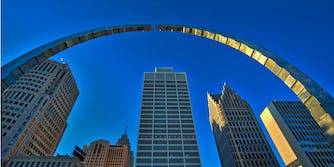 The Hart Plaza Arch in Detroit Michigan