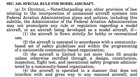 An entirely different set of rules for R/C airplanes.