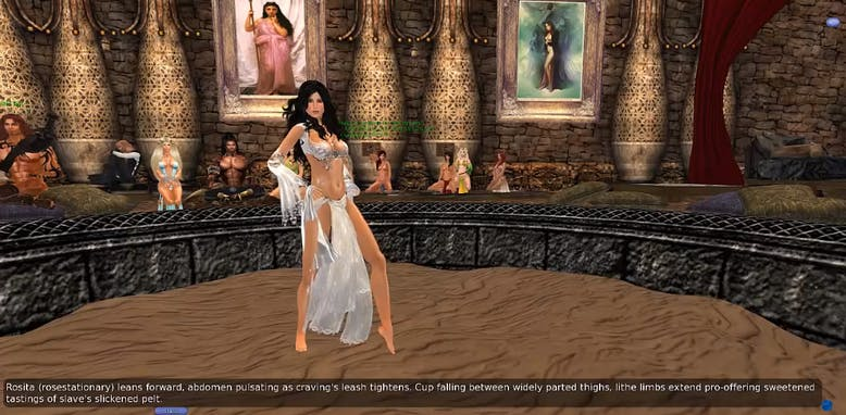 A graduation dance in Second Life where karija's show they have been fully trained as a slave