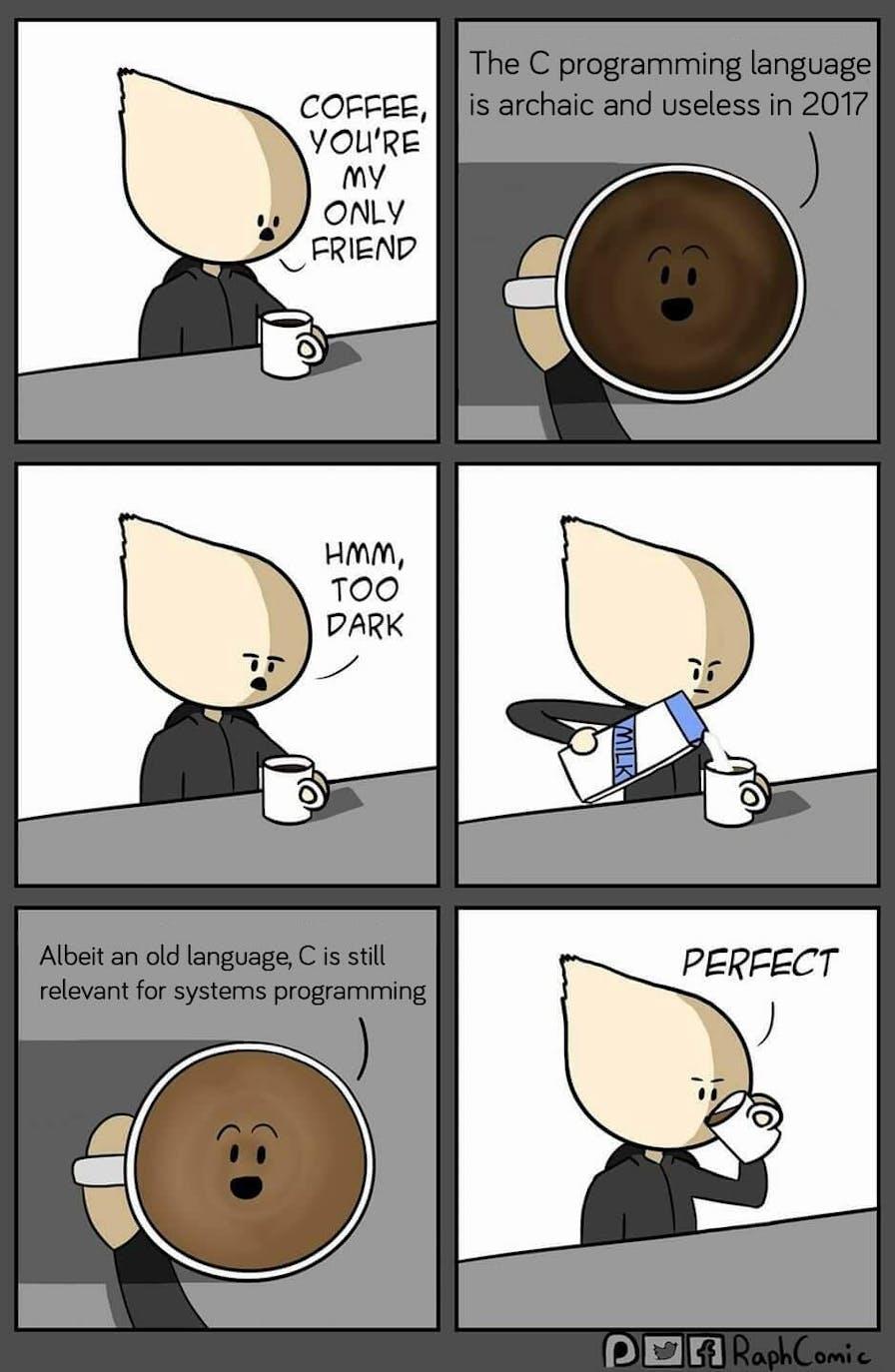 coffee friend meme c programming language