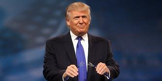 pardon power : Donald Trump holding cut cat5 cable