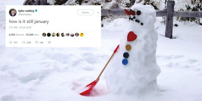 "Sad snowman with ""how is it still january"" tweet"
