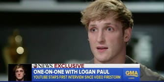 Logan Paul makes a serious face on Good Morning America
