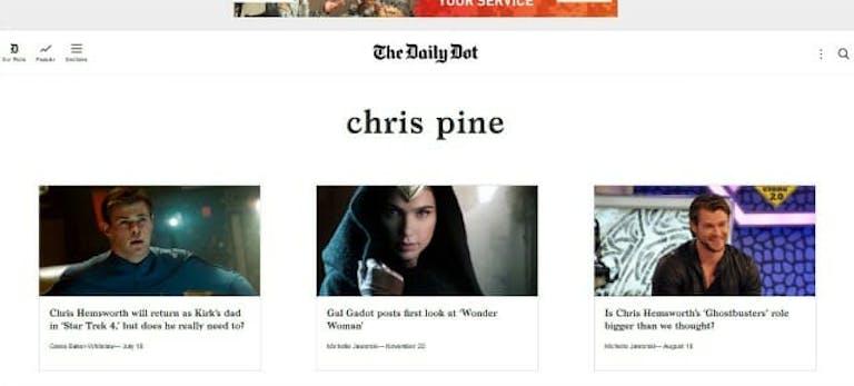 Chris Pine tags page