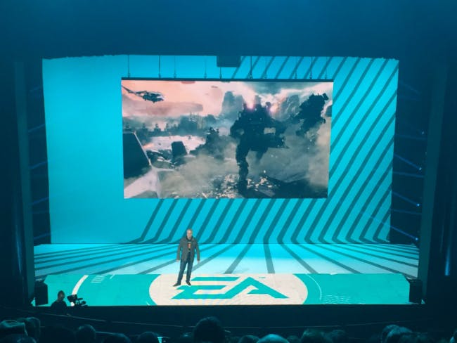 Vince Zampella of Respawn Entertainment introduces Titanfall 2 at EA Play 2016.