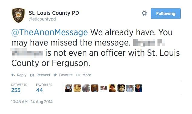 St. Louis County Police Department tweet