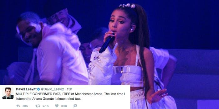 David Leavitt tweet about Ariana Grande bombing victims