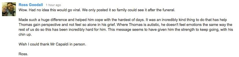 Rodd Goodall YouTube comment