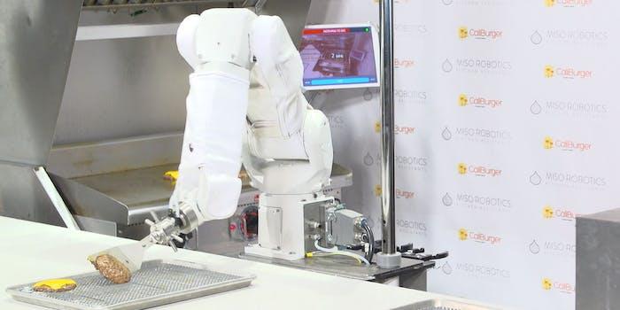 Flippy the Robot flipping a hamburger