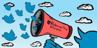 Twitter bird holding megaphone that says #ReleaseTheMemo