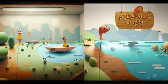 """A side-by-side comparison of stills from the music video for """"Ma'agalim"""" by Jane Bourdaoux directed by Uri Lotan, and an advertisement for McDonald's South Korea."""