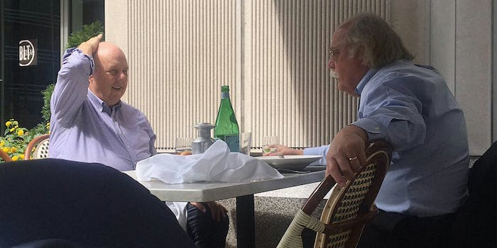 John Dowd and Ty Cobb, a lawyer for Donald Trump, having breakfast