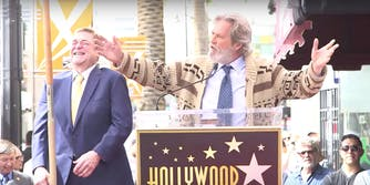 """Jeff Bridges channels his character the Dude from """"The Big Lebowski"""" at John Goodman's Walk of Fame ceremony, as Goodman laughs in the background."""