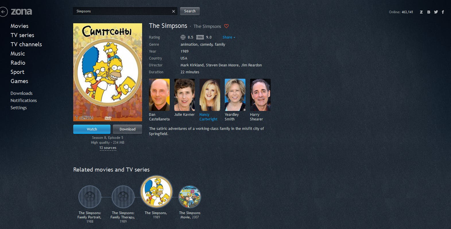 Zona Simpsons TV show page