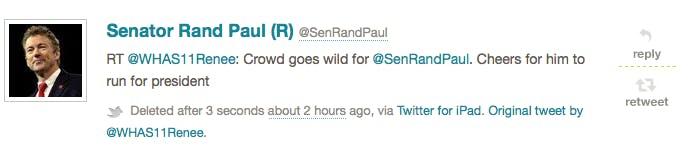 Rand Paul deleted tweet