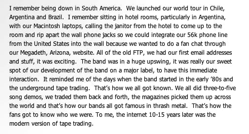 Transcript of an interview with Megadeth